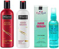 Pink Root Hair Serum (100ml) With Keratin Smooth for Straight and Smoother Hair Shampoo + Conditioner (3 Items in the set)