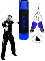 Aurion Heavy Duty Unfilled Punching Bag Set Kick Boxing MMA Heavy Training with Boxing Hand wrap and Hanging Chain (Black/White, 4 Feet (48 Inches)) (Black/Blue, 3 Ft (36 Inches))