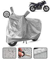 Spaiko Waterproof Bike Body Cover for Bajaj Pulsar 180 Motorcycle Cover Heat Resistant Metallic Silver Mirror Pocket with Soft Cotton Lining (Triple Stitched)