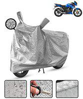 Spaiko Waterproof Bike Body Cover for Tvs Apache RTR 180 Motorcycle Cover Heat Resistant Metallic Silver Mirror Pocket with Soft Cotton Lining (Triple Stitched)