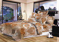Chiraiyaa Vintage Heart 210TC Microfiber Bedsheet for Double Bed with 2 Pillow Covers