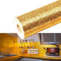 Moradiya Fresh 5 m Aluminum Foil Stickers Roll Golden, Oil Proof, Kitchen Backsplash Wallpaper Self-Adhesive Wall Sticker Anti-Mold and Heat Resistant for Walls Cabinets Drawers and Shelves - Golden