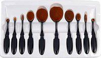 CETC Makeup Brush Set of 10Pcs New Fashionable Super Soft Professional Oval Toothbrush Foundation Contour Powder Blush Conceler Eyeliner Blending Brush Cosmetic Brushes Tool Set with Box (Black)