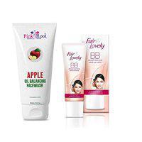 Pink Root Apple Oil Balancing Facewash 100ML with Fair & Lovely BB Foundation Fairness Cream