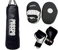 Prospo Punching Bag, Strong srf Punching Bag with Focus pad Straight and Boxing Gloves