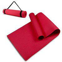 SIGNATRON 10mm Extra Thick Yoga and Exercise Mat with Carrying Strap RED