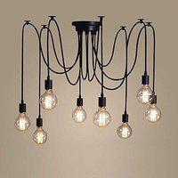 BrightLyt Chandelier in 8 Wires Spider Shape Multiple Adjustable DIY Industrial Ceiling Pendant Lighting with E27 Holders_4ft_8 Heads