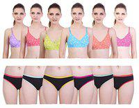 CADEAU Solid Cotton Sports || Regular Fancy Painty Bra Combo Pack for Woman Girls Daily uses Size - 38 Set of 6 Bras||6 Panties (TNY-BCK