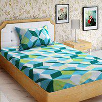 Good Homes Triangle 144 TC Cotton Single Bed Sheet with 1 Pillow Cover- Blue & Green