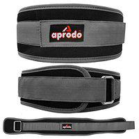 APRODO Multi Purpose Weight Lifting Belt for Back Support Comfortable & Durable for Powerlifting, Weightlifting, Gym, Workout - 100% Nylon, (4 Inch Wide) for Men and Women (Grey, Small 28'' - 32'')