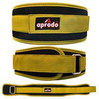 APRODO Multipurpose Weight Lifting Belt for Back Support Comfortable & Durable for Powerlifting, Weightlifting, Gym, Workout - 100% Nylon, (4 Inch Wide) for Men and Women (Yellow, Small 28'' - 32'')