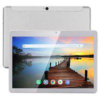DOMO Slate SL48 OS8 Tablet PC with 10 Inch IPS FHD 19201200 LCD, Deca Core X20 CPU, 4GB RAM, 64GB Storage, 2.5D Corning Toughened Glass Touch, Dual Box Speakers and 4G Volte (Silver)