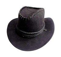 Wizme Classic Mens Fedora Hats Straw Cowboy Hats For Travelling Outdoor Men Fashion (Black)