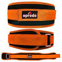 APRODO Multipurpose Weight Lifting Belt for Back Support Comfortable & Durable for Weightlifting, Gym, Workout - 100% Nylon, (4 Inch Wide) for Men and Women (Orange, Small 28'' - 32'')