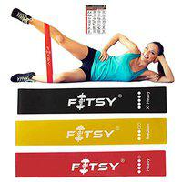 FITSY Exercise Resistance Loop Bands, 12-inch, Set of 3 TPR Resistance Exercise Bands for Physical Therapy, Rehab, Stretching, Home Fitness, Yoga - Bonus Home Gym Workout Chart (NEWAR3445)