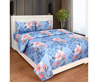 Home Solution bedsheet for Double Bed Cotton, bedsheet for Living Room, Double bedsheets with 2 Pillow Covers. (230 x 250 cm) (Floral-Blue)