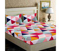 Home Solution bedsheet for Double Bed Cotton, bedsheet for Living Room, Double bedsheets with 2 Pillow Covers. (230 x 250 cm) (Try-Multi)
