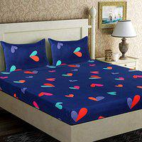 Genius Homes Premium Cotton Printed Double Bedsheet with 2 Pillow Covers (90 x 90 inches) Heart Blue