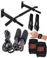 Aurion Skipping-Rope Jump Skipping Rope for Men, Women, Weight Loss, Kids, Girls, Children, Adult - Best in Fitness, Sports, Exercise, Workout (Mountain Bar + Jump-rope+ Ab strap+Wrist Support)