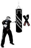 Aurion Unfilled Heavy Punch Bag 3ft 4ft 5ft Boxing MMA Sparring Punching Training Kickboxing Muay Thai with Focus Pad & Boxing Hand Wrap Hanging Chain (Black + Hand wrap, 24-inch (2 Feet))