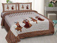 Chiraiyaa Rajasthani Dance Pattern 120TC 100% Cotton King Size Bedsheet for Double Bed with 2 Pillow Covers