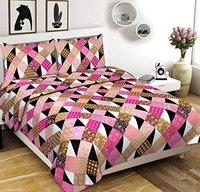 Chiraiyaa Checks Stripes 120TC 100% Cotton Bedsheet for Double Bed with 2 Pillow Covers