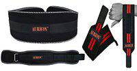 Aurion Body Squad Weight Lifting Belt Pro Quality Neoprene Back Support Belt and Stainless Steel Hook and Loop Design - 6 Wide Soft Feel Padding (Gym Belt + Weight Lifting Wrap (Pair), Large)