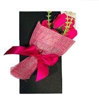 Artificial Natural Looking Roses Hand Bouquet (5 Pink Roses) Pink Rose Artificial Flower (8 inch, Pack of 1)