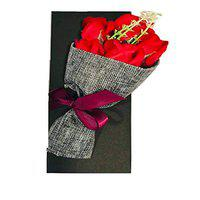 Toniry Artificial Natural Looking Roses Hand Bouquet (5 Red Roses) Red Rose Artificial Flower (8 inch, Pack of 1)
