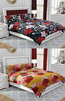 Home Pictures 144TC Combo of Printed Double Bedsheet with Pillow Cover   Double Size Bed Bedsheet Set of 2