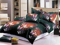 Chiraiyaa Butterfuly Pattern 210 TC Microfiber Bedsheet for Double Bed with 2 Pillow Covers