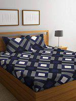 Florida Cotton 130 GSM Single Bedsheet with 1 Pillow Cover (Blue White, 155x228 cm)