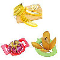 Rays Fruit Combo of Apple Cutter, Premium Mango Cutter & Attractive Banana Cutter (Pack of 3,Multi Color)