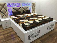 Home Pictures 3D Printed 180 Tc Microfiber King Size Double Bed Bedsheet with 2 Pillow Covers Set ( Size: 90 X92 Inch) (Brown Lotus)