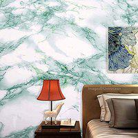 Univocean Green White Granite Look Marble Wall Stickers, Self Adhesive Vinyl Peel and Stick PVC Wall Papers (60cm x 500cm)