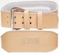Aurion Genuine Leather Weight Lifting Belt Body Fitness Gym Back Support Power Lifting Belt (Tan, XS)