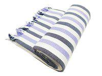 Mylooms Astra Premium Cotton Light Weight Honeycomb Style Check Towels: Ultra Soft, Super Absorbent - Bath Towel for Home & Travel XLarge 30X60 (Black & Violet Stripes)