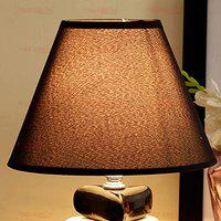TIED RIBBONS Night Lampshade For Bedside Table Lamp (14.2X20.5 Cm, Black)