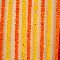 Improvhome Artificial Marigold Fluffy Flowers Garlands for Decoration - Pack of 10 (Yellow & Dark Orange)