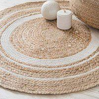 Handwoven Jute Rug, Natural Fibres by Maddy Home Gallery, Braided Reversible Carpet for Bedroom Living Room Dining Room (Jute White, 100 cm)