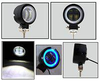 PA 3 Inch Round White Single Fog Light with Blue Halo Angel Eye Ring For TVS Apache RTR 220 (Metal Body) 20w