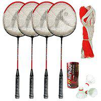 Hipkoo Sports Toofani Wide Body Badminton Rackets Set of 4 with 3 Feather Shuttles and Net