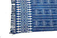 Mat Hand Block Print Cotton Rug Runner 2x6' Ft Indigo Color Rug Runner Kitchen Carpet Bedroom Carpet Living Room Carpet Hall Rug Runner Yoga Mat Pooja Dhurrie (2x6' Ft)