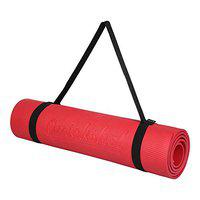 Quickshel Yoga Mat with Anti Skid Yoga mat for Gym Workout and Flooring Exercise Long Size Yoga Mat for Men Women Thickness (Red, 4mm)