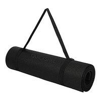 Quickshel Yoga Mat with Anti Skid Yoga mat for Gym Workout and Flooring Exercise Long Size Yoga Mat for Men Women Thickness (Black, 4mm)