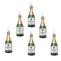 Unique Collection Decorations Champagne Bottle Candle Cake Decoration Pack of 6 Piece, Green