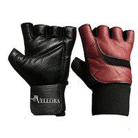 VELLORA Pure Genuine Leather Gym Gloves Fitness Training Gym Gloves/Functional Hand Protector (Free Size)(Mahroon)