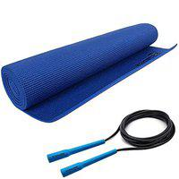 Strauss Yoga Mat, 6mm (Blue) with Adjustable Skipping Rope, (Blue)