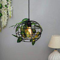 Homesake Hanging Pendant Plant Light Fixtures Creative Home Decor Living Room Dining, Ceiling Light with Leafy Vine and Filament Bulb (Sphere)
