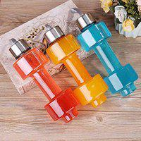 KHODIYAR Unbreakable Plastic Dumbbell Shape Water Bottle with Steel Cap lid - 1 L( pack of 3 )